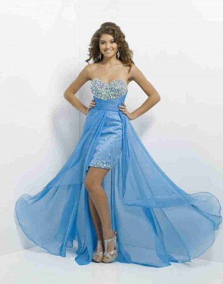 Dramatic A Line Sweetheart Natural High Low Chiffon Blue Beading Cocktail/Homecoming Dress Cbp0075