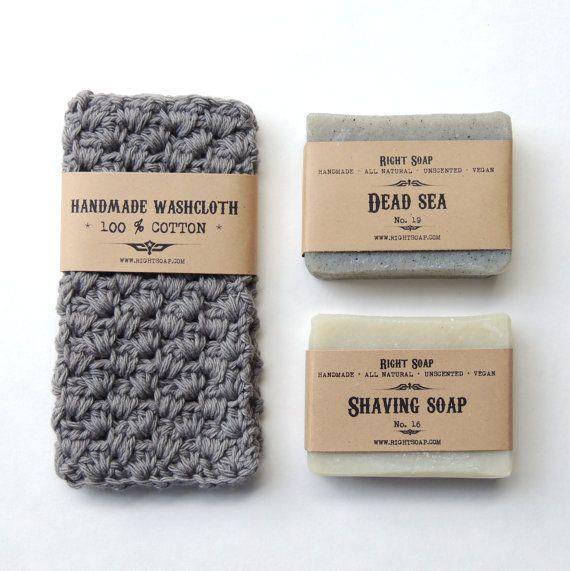 Men gift set, natural soaps and washcloth, vegan soap, gift for men, men gift, christmas gift for men, bath and beauty, shaving soap #rightsoap