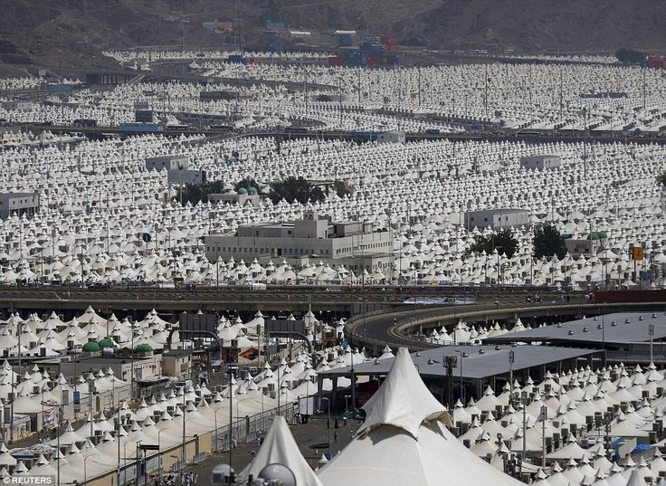 As far as the eye can see: A view of the camp city at Mina, near the holy city of Mecca, w...