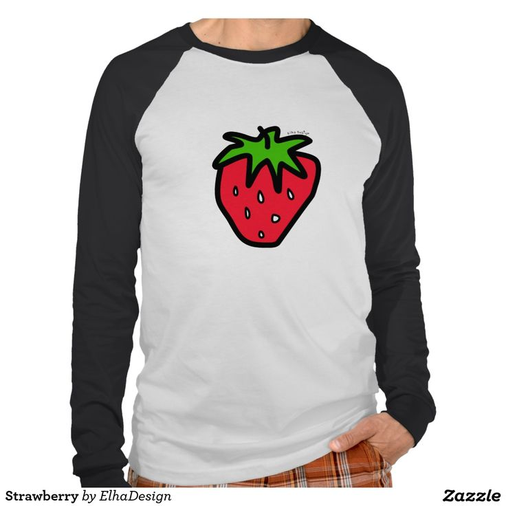 Strawberry Men's Canvas Long Sleeve Raglan T-Shirt