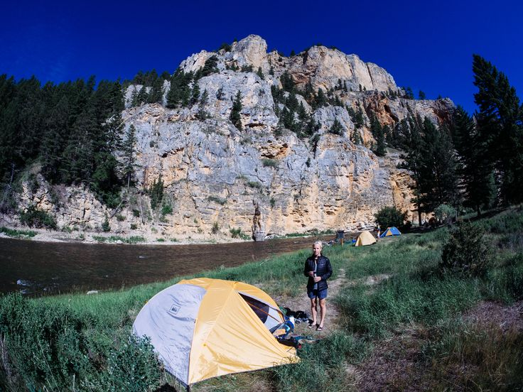 Camping riverside on a multi-day fly fishing trip in Montana.