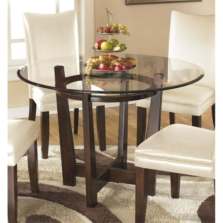 Lovely Ashley Charrell Glass Round Dining Table In Medium Brown