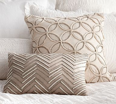 """Embellished Beaded Pillow Covers #potterybarn 12"""" x 16"""" envelope closure pillow form sold separately"""