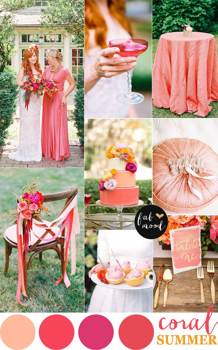 Coral wedding color palette for summer wedding | http://www.fabmood.com/coral-wedding-color-palette-for-summer-wedding/