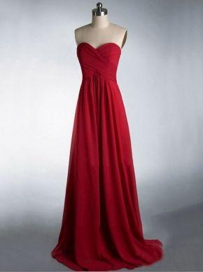 red long cheap elegant strapless sleeveless bridesmaid dress | Cheap bridesmaid dresses Sale