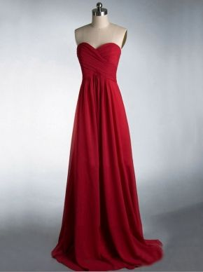red long cheap elegant strapless sleeveless bridesmaid dress | Cheap bridesmaid dresses Sale