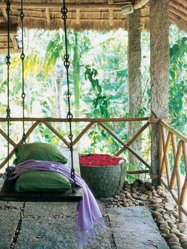 Tropical porch swing ....and I love this hardware..... iron stems with loops!!!!