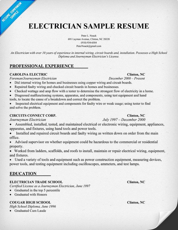 70 best Electrical ideas images on Pinterest Home ideas, Good - apprentice electrician resume