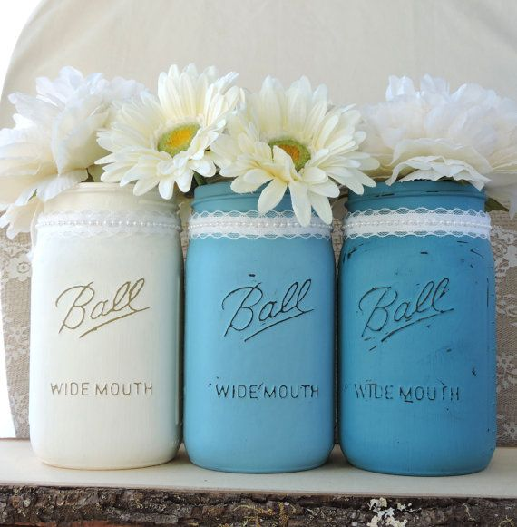 3 Shabby Chic Mason Jar Flower Vases with Lace Beach by LavaGifts The colors here are cream aqua and turquoise.  *You can choose as many as you want.* I have many more colors to choose from. Send me a convo and I will let you know if I have your colors available.   This is such a sweet design, perfect for your rustic country wedding. Use as vases for your centerpiece or on your cake table. This is a beautiful way to add some rustic chic beauty to your wedding, home, office, garden or party.