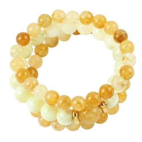 Vika Jewelry - Orange Agate And Mother Of Pearl Stretch Bracelet With 18K Gold Plated Details VIKA (Jewelry from Brazil). $94.00. Plate guarantee: 6 months