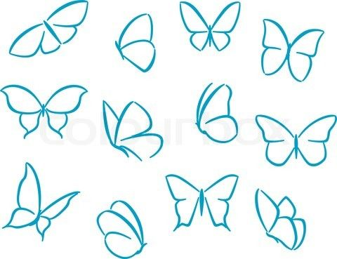 Vector of 'Butterflies silhouettes for symbols, icons and tattoos design' - Good butterfly tattoo shape inspiration