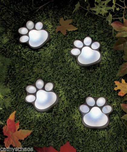 Solar Animal Bear Cat Dog Paw Prints Lighted Paws Garden