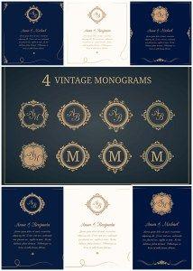 WEDDING INVITATIONS WITH MONOGRAMS VECTOR COLLECTION - http://freepicvector.com/wedding-invitations-with-monograms-vector-collection/