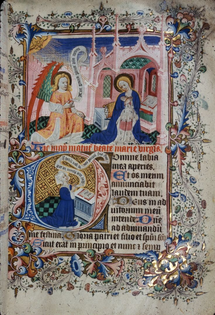 "A Medieval Calendar:  A page from an English Book of Hours (1401-1414) held at the British Library, helpfully filed as ""Royal 2 A XVIII"".  This page illustrates 25th March (the Feast of Annunciation), which according to tradition is the day Mary was told ""Yo.  You're pregnant.""  This was therefore the start of the New Year for countries using the Julian calendar.  During the move to our current calendar, we lost 72 days.  I kid you not."