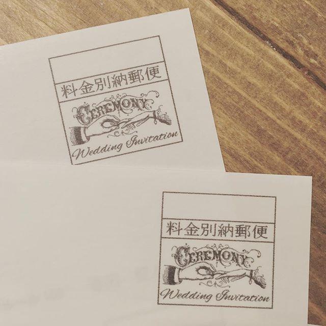 """✴︎ 【Postpaid mark】 ・ ・ 招待状の封筒に印字する料金別納マーク。 ・ ・ """"Wedding free illustrate antique"""" とか検索して出てきたいい感じのやつで、可愛くって即決定♡ ・ ・ そして宛名書きなう✉︎ なかなか終わらないっ…!"""