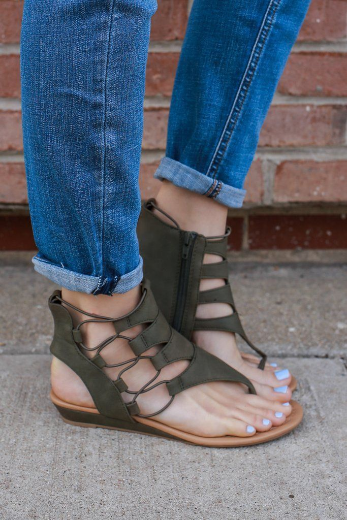 1f10cf8e2 Olive Faux Leather Cutout Accent Mini Wedge Sandal Dartina – UOIOnline.com   Women s Clothing Boutique  sandalsoutfit