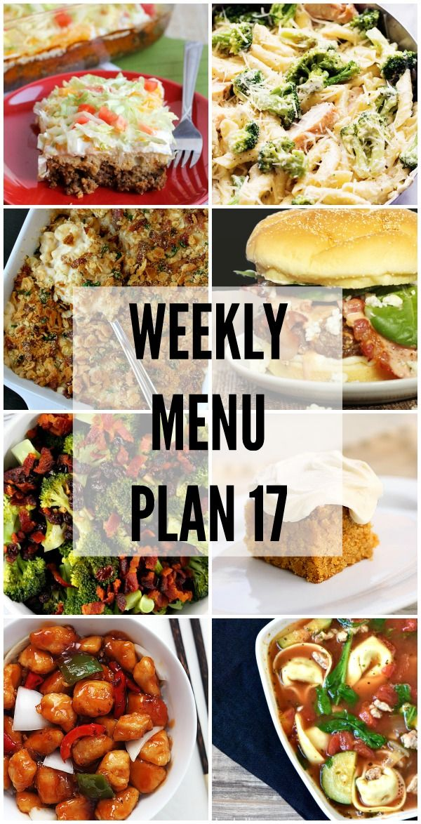 Weekly Menu Plan - a great collection of recipes to help you with your weekly menu! Get the recipes on { lilluna.com }