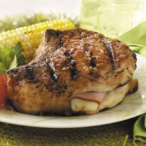April 4 is National Cordon Bleu Day and since I've been overdosing on chicken lately, I've decided to whip up some Cordon Bleu Pork Chops instead.  This recipe is from Taste of Home.