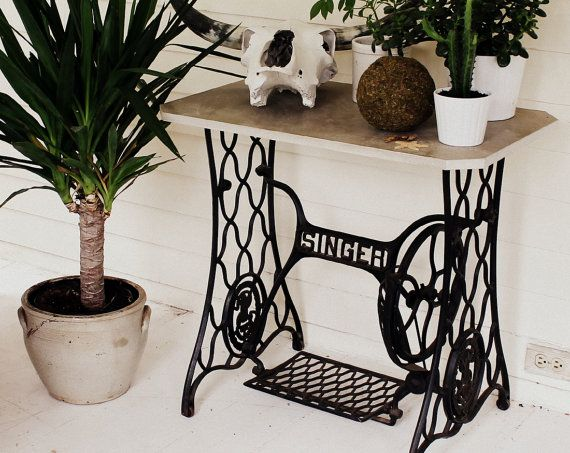 Pick Up Only, Antique Singer Sewing Machine Base and Vintage Marble Slab Top Side Table, Plant Stand, Industrial Hand Made Furniture