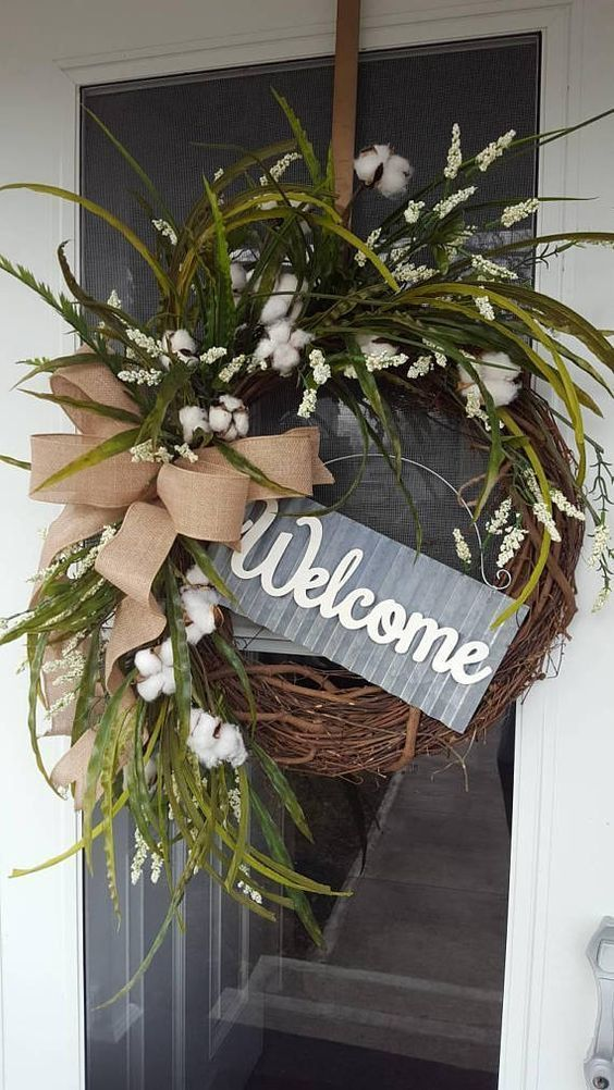 White Wreath Cotton Farmhouse Rustic Front Door Welcome Greenery Beautiful With