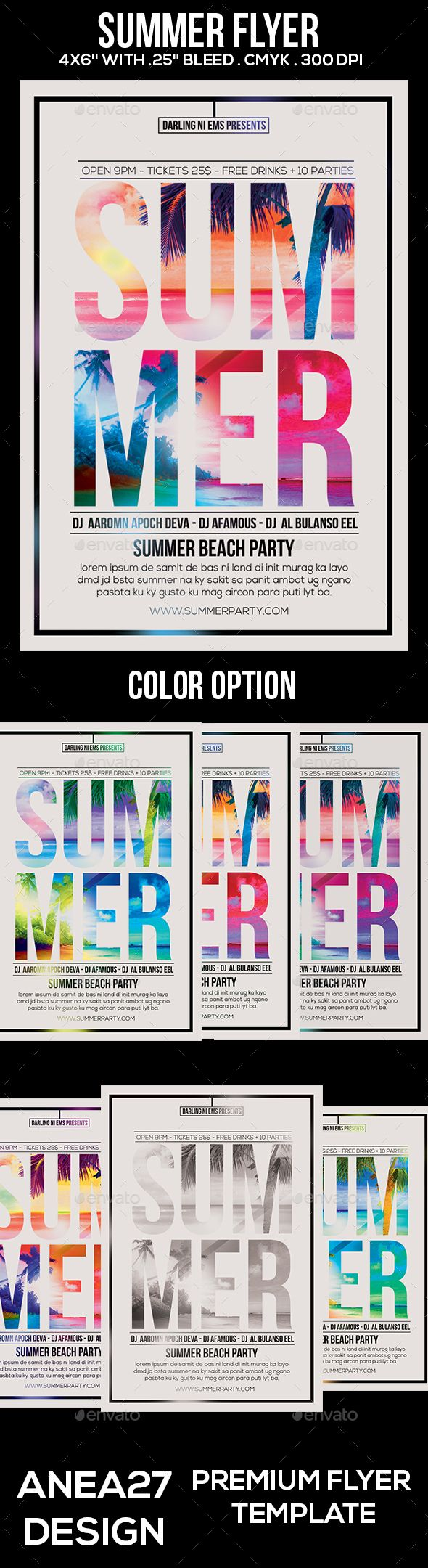 Summer Flyer #hot #typography • Click here to download ! http://graphicriver.net/item/summer-flyer/16125575?ref=pxcr