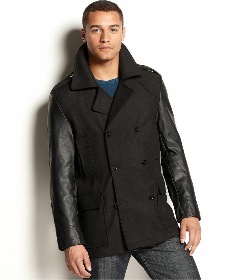 Mens Jacket With Leather Sleeves