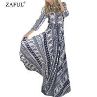 Zaful 2016 mujeres atractivas del verano Vintage étnico vestido Maxi de la media manga V del cuello cayó sisas Split Hem imprimir swing grande vestidos