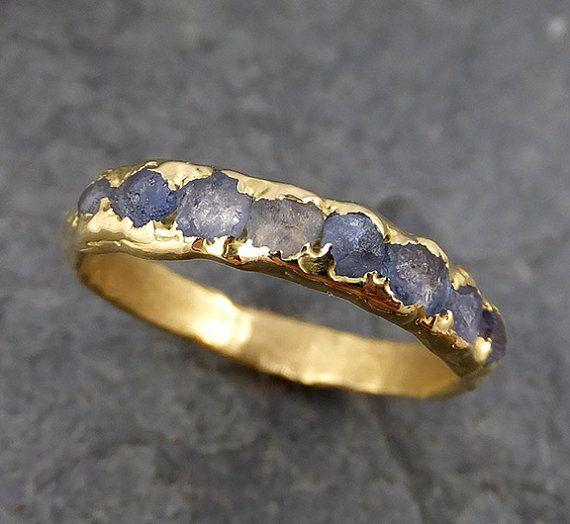 Raw Sapphire Diamond 18k Gold Engagement Ring by byAngeline
