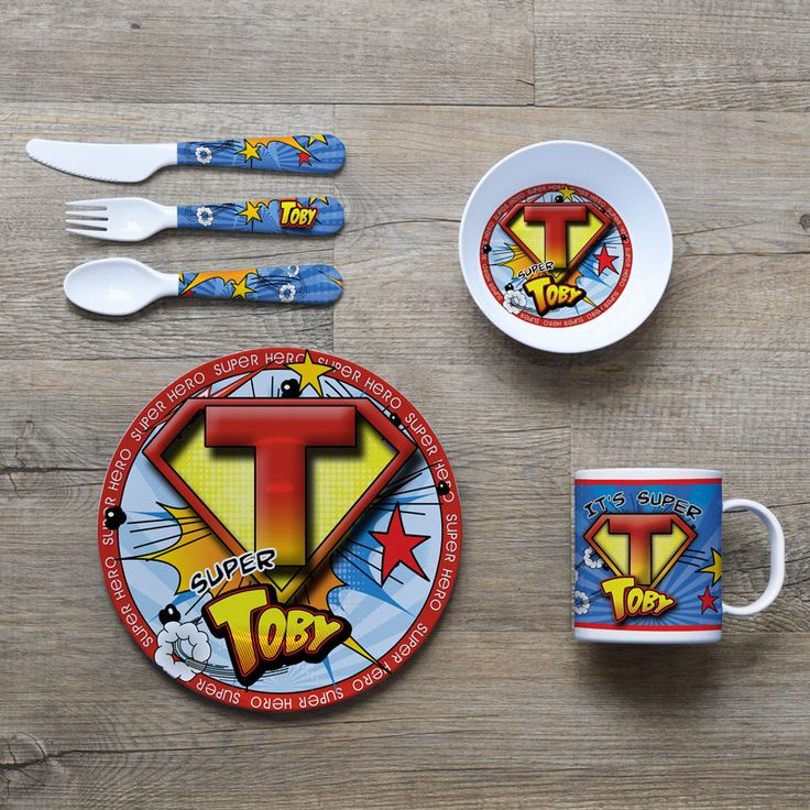 Super Hero Personalised Melamine Kids Dinner Set - SPATZ Mini Peeps®