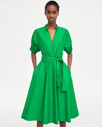 7f39a9a8bf5f93 Image 2 of MIDI DRESS WITH VOLUMINOUS SLEEVES from Zara