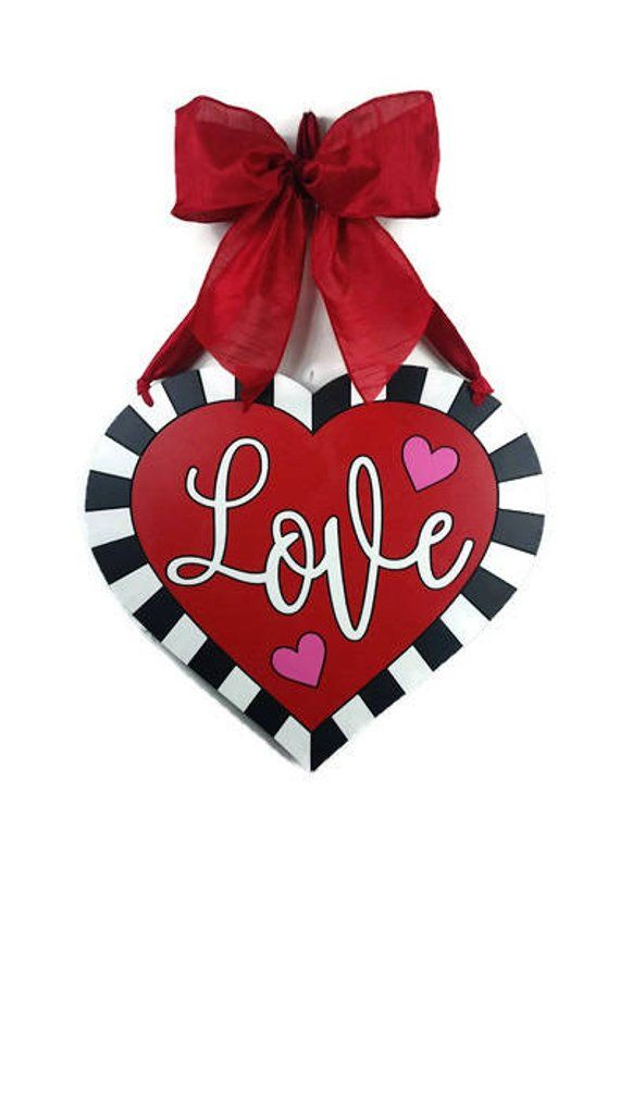 Valentine wreath, Valentine door hanger, Heart wreath, Heart door hanger, Valent…