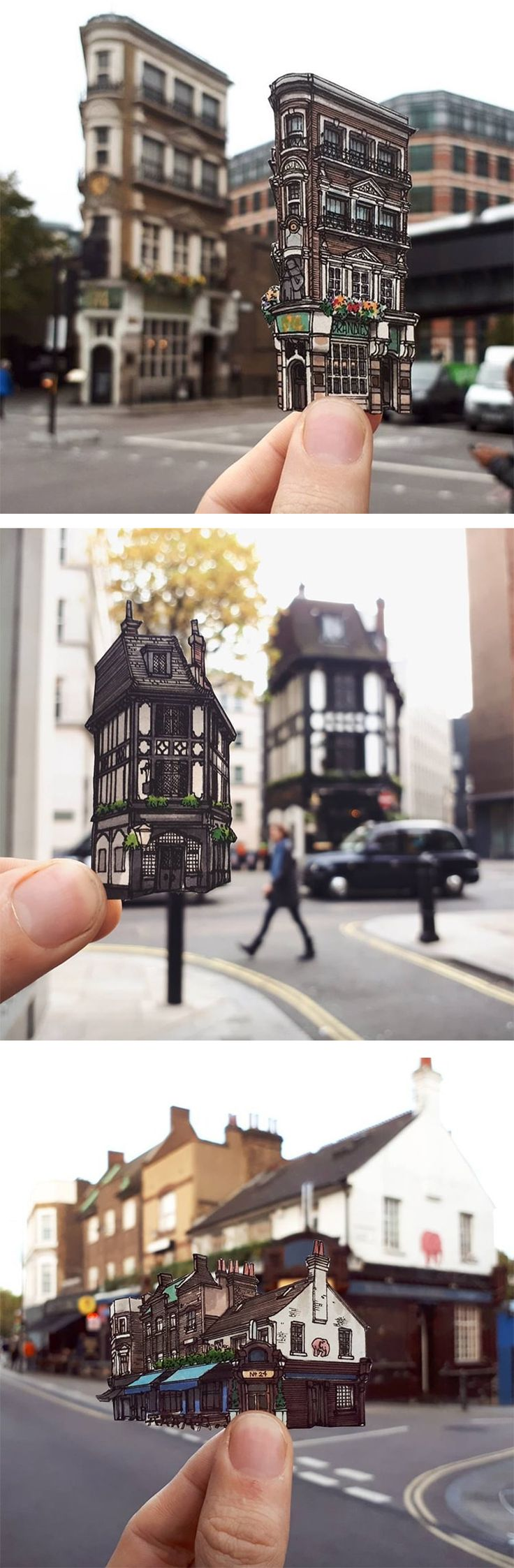 Illustrator Maxwell Tilse Captures London's oldest pubs in a series of cut-out pen and ink drawings.