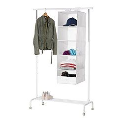 The hook and loop fastener makes it easy to hang up and move. It is easier to pull the boxes out of the compartments if you hold on to the strap at the bottom. Takes little room to store as it folds flat.