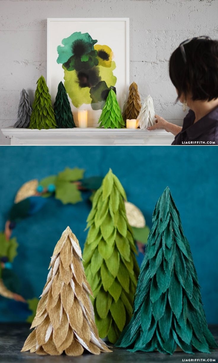 Gorgeous Floristic Crepe Holiday Decorations. Full tree pattern and tutorial at www.LiaGriffith.com #DIYHolidayDecor: