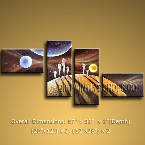 "Enchanting Large 4 Panels Canvas Wall Art Contemporary Universe 67"" x 32"" #2524"
