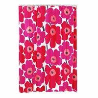 Marimekko Unikko Red Cotton Shower Curtain - Marimekko Shower Curtains