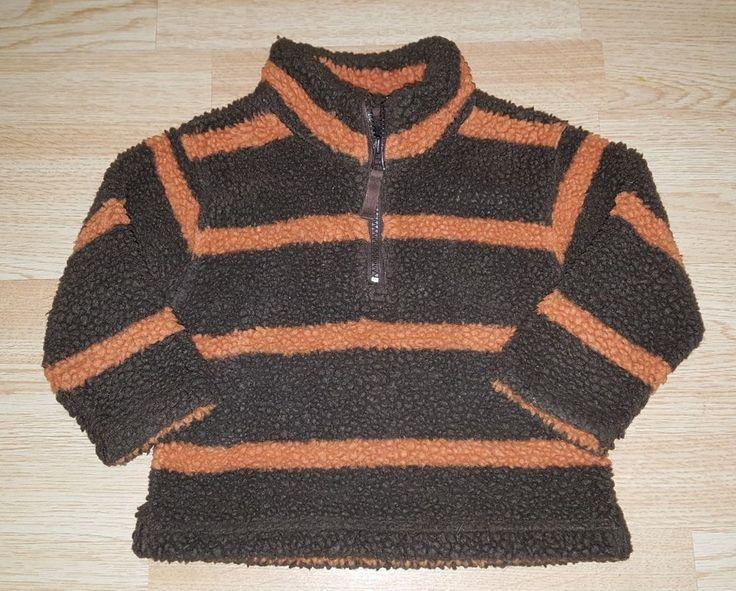 Mini Boden boys 18-24 months sherpa half zip pullover striped shirt brown orange
