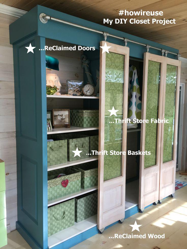 My Custom Closet! Recycled Doors, Thrift Store Baskets & Fabric.  Plumbing Pipe used for Door Sliders!