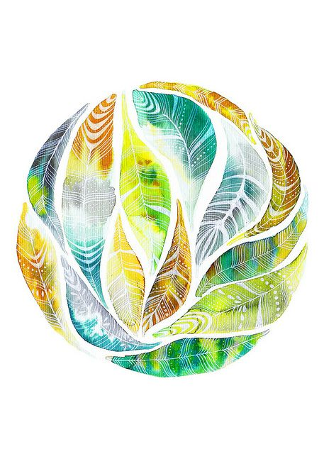 watercolor leaves in a circle