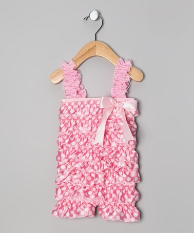 Take a look at this Pink Polka Dot Ruffle Romper - Infant & Toddler by Swank Kouture on #zulily today!
