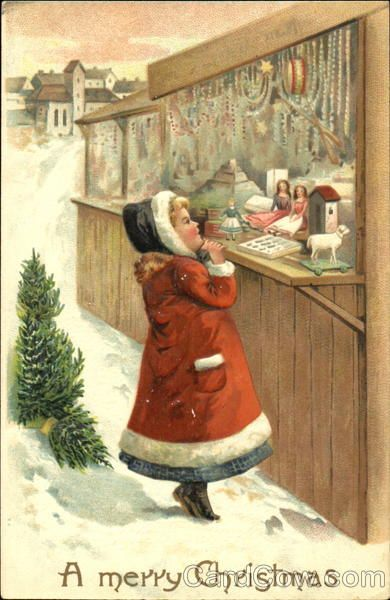 Girl Viewing Toys During Winter Children