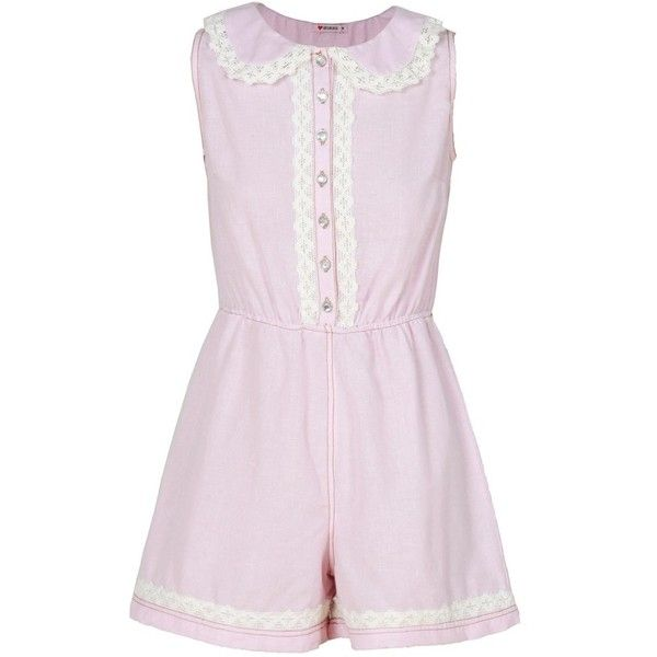 Crochet Trim Peter Pan Collar Pink Playsuit (€19) ❤ liked on Polyvore featuring jumpsuits, rompers, dresses, romper, one piece, one-piece, playsuit romper, pink romper and pink rompers