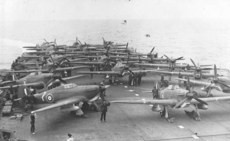 Hurricanes en route to Malta, June 1941. They were the mainstay of the Mediterranean fighter force till late 1942, Spitfires being retained for home service. By then they were thoroughly outclassed in air combat, but remained highly effective in the ground attack role.