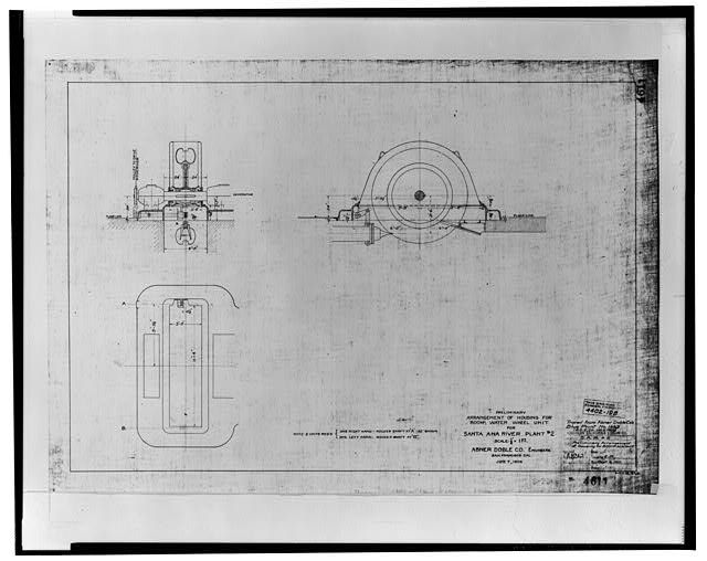47.  S.A.R. #2 PRELIMINARY ARRANGEMENT OF HOUSING FOR 800 HORSEPOWER WATER WHEEL UNIT, JUNE 7, 1904. TRACED ON SEPT. 6, 1911 BY E.P., FROM ABNER DOBLE CO'S.  BLUE PRINT NO. 1663.  SCE drawing no. 4611. - Santa Ana River Hydroelectric System, SAR-2 Powerhouse, Redlands, San Bernardino County, CA