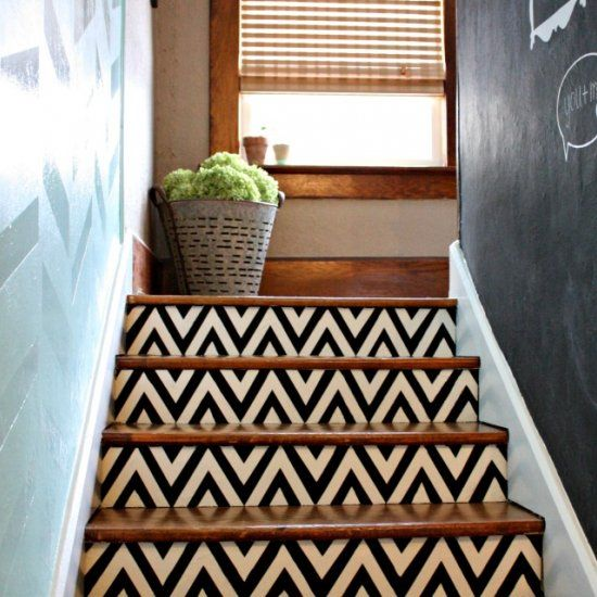 Make a bold style statement by painting a pattern on a short set of stairs. We used a stencil to create a black and white chevron pattern.