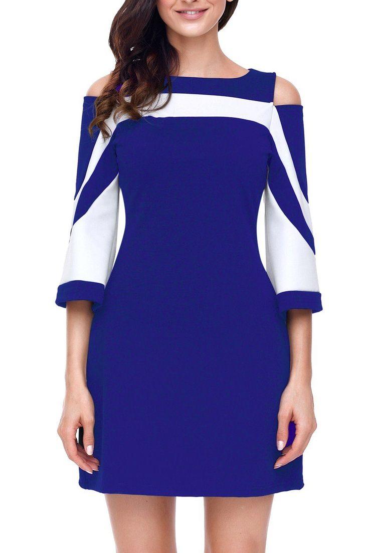 Robe Courte Femme Bleu Blanc Bloc de Couleur Froide Epaule Pas Cher www.modebuy.com @Modebuy #Modebuy #Blanc #Bleu #mode #nice #unique