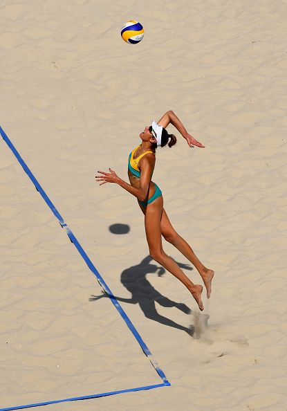 #RIO2016 Best of Day 1 - Taliqua Clancy of Australia serves during the Women's Beach Volleyball preliminary round Pool F match against Natalia Alfaro and Karen Cope Charles...