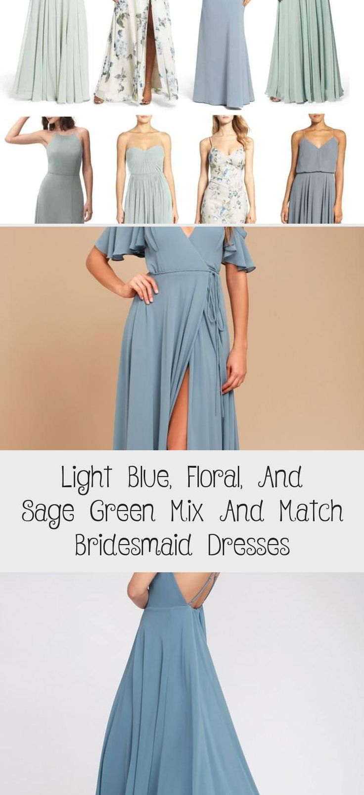 Blue floral and mist sage green mismatched bridesmaid dresses by Jenny Yoo #BridesmaidDressesPurple #PinkBridesmaidDresses #BridesmaidDressesMint #PeachBridesmaidDresses #LilacBridesmaidDresses
