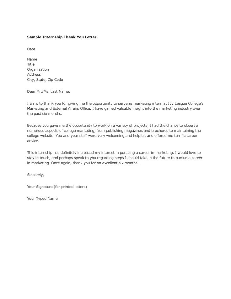 Sample Post Internship Thank You Letter For Job Offer Download