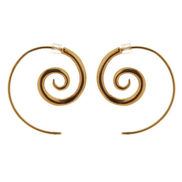 "Spiral 9ct Gold Plated Earrings Medium - These popular 9ct Gold Plated spiral earrings come in three sizes (sold separately) with a rubber earring back to hold them in. Remember the Stone Arrow Motto ""you can never have too many spirals!""  The spirals are a copper base and the ear wire is solid sterling silver, all coated with a durable 9ct Gold plate. Also available in Sterling Silver. Hook length curve: 45mm or 1.8 inches (approx).  Spiral diameter: 19mm or .75 inch."